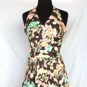 KAY UNGER Pastel Florals on Brown Halter Dress
